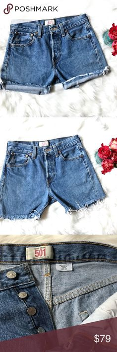 "Levi's 501 Button Fly High Waist Cut Off Shorts Levi's 501 Button Fly High Waist Cut Off Shorts. These are actual cut off shorts from a pair of jeans. You have the option to keep them longer or roll them up without your whole butt hanging out!  Use measurements, fits like a 4 personally.  Size 29 x 32 14"" waist  17.5"" hip 10"" rise 14"" long un cuffed 4.5""inseam Levi's Shorts Jean Shorts"