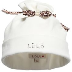 Loredana LòLò baby girls hat made from a soft cotton jersey blend.  This cute hat has a brim with the designer's logo in diamante, a leopard print bow at the front and gathers at the top of the head with a drawstring.<br /> <ul> <li>90% cotton, 10% elastane (soft,stretchy cotton jersey)</li> <li>Machine wash (40*C)</li> <li>Made in Italy</li> </ul> <div><br /></div>