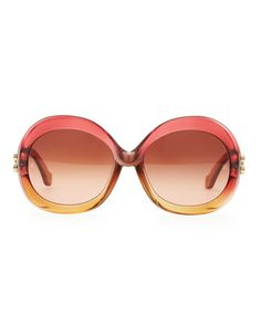 Balenciaga Oversized Round Sunglasses, Transparent Red Amber Gradient 0158044bdc34