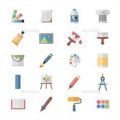 Flat Color Icons Design Set of Art and Painting Icons