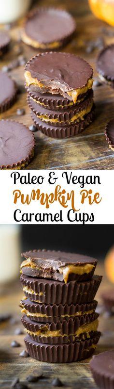 Pumpkin pie caramel cups that are Paleo and vegan! Gooey pumpkin pie caramel…