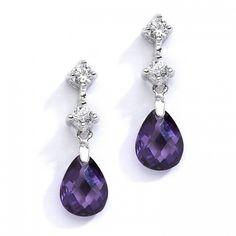 Amethyst Crystal Drop CZ Earrings