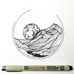 Moon behind mountains drawing