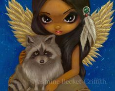Famous Fairy Art | Brother Raccoon native pet animal f airy art print by Jasmine Becket ...