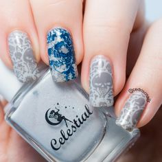 Skull nails using Messy mansion MM58 plate. Base polish is Swill Merchants by Celestial cosmetics and stamping polish is Rica Gloomy Sunday and Celestial Denim.