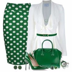 How To Wear Green Clothes Outfit 38 Super Ideas Komplette Outfits, Classy Outfits, Fashion Outfits, Womens Fashion, Fashion Trends, Office Outfits, Skirt Fashion, Pretty Outfits, Work Fashion