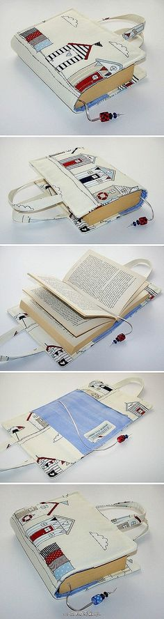 Linda capa em forma de bolsa para livros.