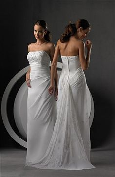 Strapless Side Draped Watteau Wedding Gown Wedding Gowns - OuterInner.com