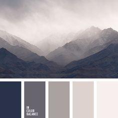 color niebla de mañana, color niebla en montaña, cremoso, elección del color, marrón, marrón grisáceo, matices de color rosa grisáceo, negro, negro azulado, paleta de colores de invierno, paleta del color gris monocromática, rosado grisáceo, tonos beige, tonos grises.