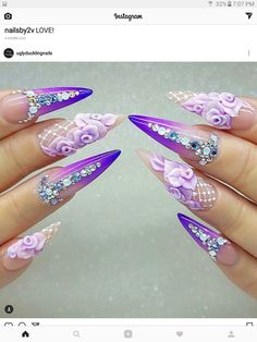 Lovely violet and lavender rose theme with little rhinestones to accent these beautiful, claw- like nails