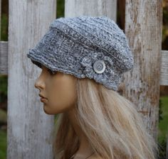 Womens  Grey Hat Winter Women Hat Winter Peaked Cap Crochet  Beanie Slouchy Women  Peaked hat Women hat Girls Hat