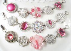 Pink Bridesmaid Bracelet Set 3, Vintage Earring Bracelets, OOAK Silver Rhinestone Pearl Wedding Jewelry Gifts, Blush Fuchsia Romantic Shabby by AmoreTreasure on Etsy