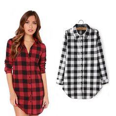 2015 Autumn Hot Sale Women Blouse Long Sleeve Casual blusas Top Quality Shirt Winter Plaid Tops on http://ali.pub/8n1jk