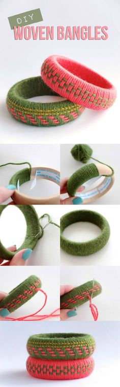 Use weaving techniques to update your accessories. Great for using up yarn scraps