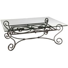 AptB Concord Coffee Table NaturalMetal Liked On Polyvore - Iron side table with glass top