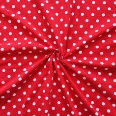 Baumwoll Stretch Jersey  Punkte Mittel  Farbe Rot-Weiss