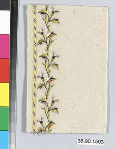 Sample Date: early 19th century Culture: French Medium: Silk and metal thread on felt Dimensions: L. 4 3/4 x W. 3 inches 12.1 x 7.6 cm Classification: Textiles-Embroidered Credit Line: Gift of The United Piece Dye Works, 1936