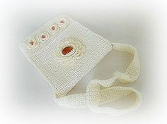 Crocheted handbag stone bag amber handbag crochet by styledonna