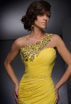 Vestido de noche Gasa Corte Sirena Amarillo Abalorio Sin mangas Reloj de Arena