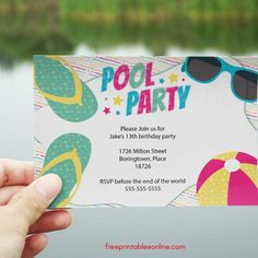Personalize your own swimming pool party invitations with these fun summery freebies. Perfect for both children's pool parties and adult pool parties, simply print these invites and their matching env