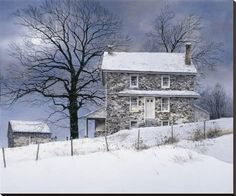 Ray Hendershot Treeline Barn Country Fall Tree Landscape Print Poster 19x13