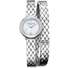 Baume & Mercier Petite Promesse Stainless Steel Wrap-Around Watch ($2,590) ❤ liked on Polyvore featuring jewelry, watches, wrap around watches, wrap around wrist watch, sparkle jewelry, bezel jewelry and wraparound watches
