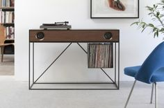 Stereo console table -- plays records and Bluetooth devices! SO COOL!