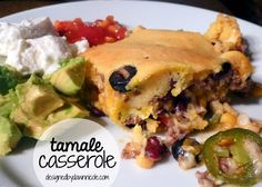 Tamale Casserole: It's like a taco topped with sweet cornbread and served with salsa, a dab of sour cream, and fresh avocado.