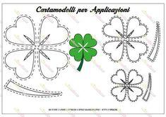 Cartamodello sagoma quadrifoglio 3 misure (grande, medio e piccolo) da stampare e ritagliare per lavoretti creativi in stoffa, feltro, pannolenci o carta Felt Crafts Diy, Felted Wool Crafts, Leaf Crafts, St Patrick's Day Crafts, Felt Diy, Handmade Crafts, San Patrick Day, Shamrock Template, Irish Celebration