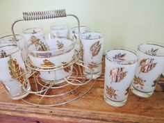Libbey Gold Leaf Glasses with Ice Bucket and by RowlandParkVintage