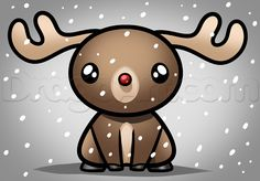 how to draw kawaii rudolph