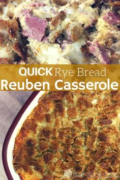 This Quick Rye Bread Reuben Casserole recipe will satisfy that craving and leaving you wanting more - all. Reuben Casserole, Casserole Dishes, Casserole Recipes, Burrito Casserole, Slow Cooker Recipes, Crockpot Recipes, Cooking Recipes, Gourmet Cooking, Frugal Meals
