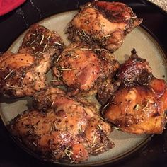Short on ingredients, this marinated chicken bakes up tender and flavorful.  Allrecipes.com