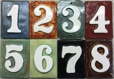 Tile glazed Weatherproof Pick your colors.Free ship House  Mailbox post numbers