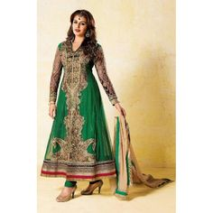 DARK GREEN DESIGNER SEMI STITCHED PARTY / BRIDAL WEAR HAVING EMBROIDERY WORK AND PATCH WORK.THIS GRAND SUIT COMES ALONG WITH CHIFFON DUPATTA,WHICH CAN BE STITCHED UP TO 44 SIZE.