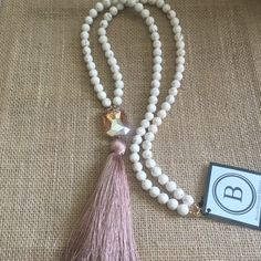 Betsy Pittard Cream Beads with Peach Crystal and Tassel Long Necklace