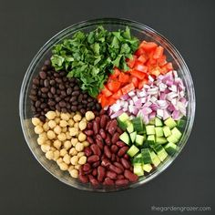 Easy, refreshing, protein-packed Mediterranean Bean Salad with a bright lemony d. Easy, refreshing, protein-packed Mediterranean Bean Salad with a bright lemony dressing and fresh h Bean Salad Recipes, Healthy Salad Recipes, Vegetarian Recipes, Cooking Recipes, Three Bean Salad, Vegan 3 Bean Salad, Quinoa Salad, Three Beans, Mediterranean Diet Recipes