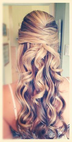 curly prom hairstyles half up half down - Google Search