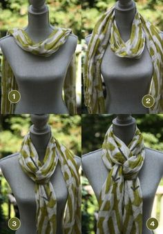 Love this scarf idea! {Fashion Stylist} 3 Clever Ideas for Scarf Tying: the Southern CrossScarf Tying: the Southern Cross. this scarf is really cute. pretty soon, i'll have a scarf to go with EVERY outfit, in every color! Ways To Tie Scarves, Ways To Wear A Scarf, How To Wear Scarves, Look Fashion, Autumn Fashion, Womens Fashion, Fashion Tips, Fashion Quotes, Fashion Fashion