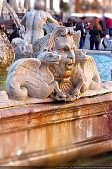 A detail of a fountain in Piazza Navona, Rome, Italy