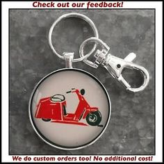 Vintage Cushman Motor Scooter Sign Photo Keychain Great Gift