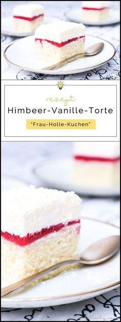 Rezept für Himbeer-Vanille-Torte (Frau Holle Kuchen)   Einfacher Blechkuchen   Filizity.com   Food-Blog aus dem Rheinland #torte #kuchen