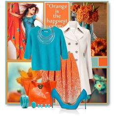 """""""Orange & Turquoise"""" by brendariley-1 on Polyvore"""