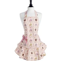 French Pastries Josephine Apron (€26) ❤ liked on Polyvore featuring home, kitchen & dining, aprons, frilly apron, pink ruffle apron, pink frilly apron, pink apron and ruffle apron