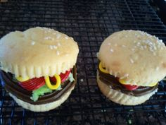Hamburger cupcakes!! These were so much fun (for a school contest). With homemade buttercreme frosting.