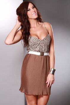 Brown Multi Strapless Peep Sexy Party Dress $18.99
