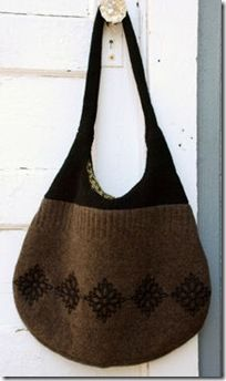 Bag from old knits. Instructions not in English but step by step photos explain clearly.