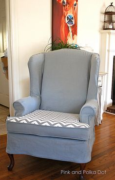Gray Chevron Wing Chair Slipcover