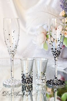 Bride and groom Pearl champagne flutes and shot glasses/ Wedding Glasses Set…