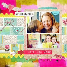 Journal Your Art Out 5; Retro Spring; NRJ colorback challenge freebie; Scallop border and hearts by Dani Mogstad; PSF 2013-04 template by Jessica Sprague; You Are Loved elements by Michelle Coleman; font: bebas